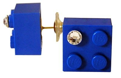 Dark Blue LEGO® brick 2x2 with a 'Diamond' color SWAROVSKI® crystal on a Gold plated stud/silicone back stopper