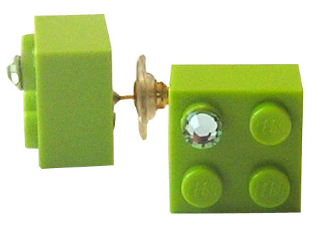 ​​Light Green LEGO® brick 2x2 with a Green SWAROVSKI® crystal on a Gold plated stud/silicone back stopper