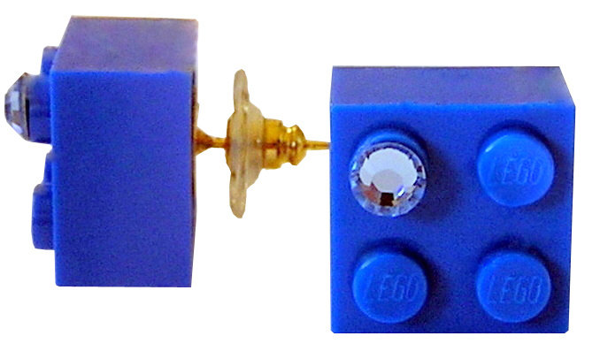 Dark Blue LEGO® brick 2x2 with a Blue SWAROVSKI® crystal on a Gold plated stud/silicone back stopper