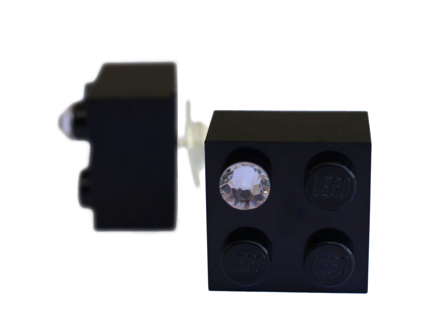 Black LEGO® brick 2x2 with a 'Diamond' color SWAROVSKI® crystal on a Silver plated stud/silicone back stopper
