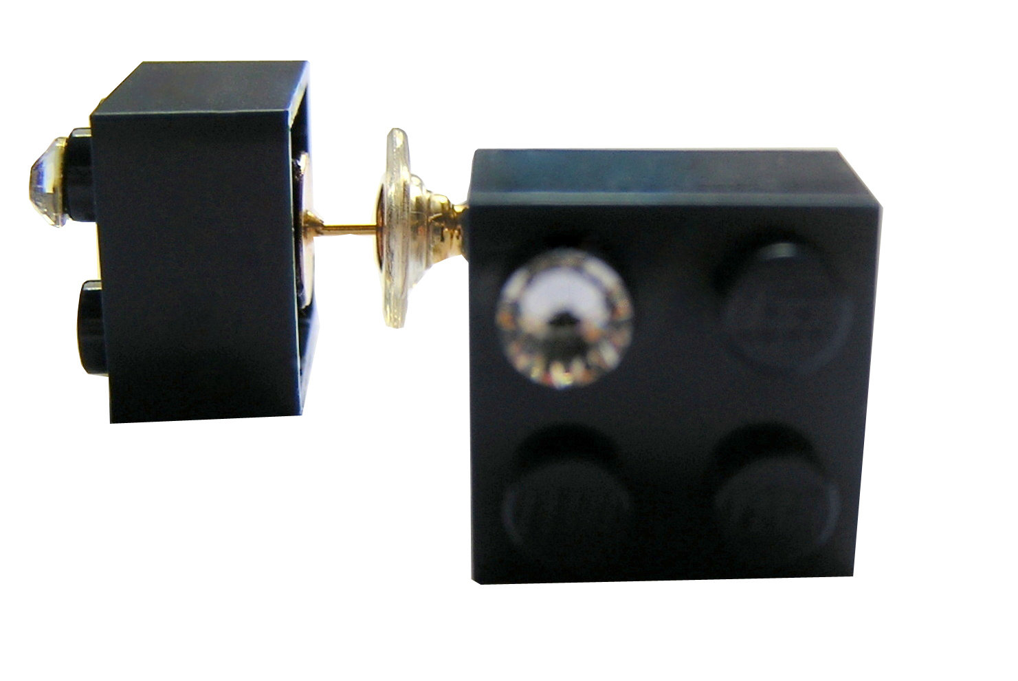 Navy Blue LEGO® brick 2x2 with a 'Diamond' color SWAROVSKI® crystal on a Gold plated stud/silicone back stopper