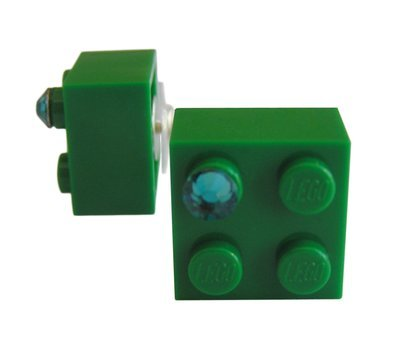 Dark Green LEGO® brick 2x2 with a Green SWAROVSKI® crystal on a Silver plated stud/silicone back stopper