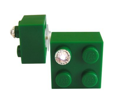 Dark Green LEGO® brick 2x2 with a 'Diamond' color SWAROVSKI® crystal on a Silver plated stud/silicone back stopper