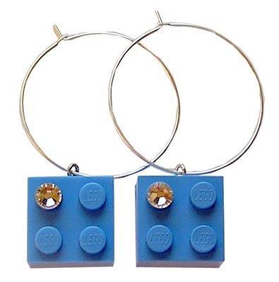 Light Blue LEGO® brick 2x2 with a 'Diamond' color SWAROVSKI® crystal on a Silver plated hoop