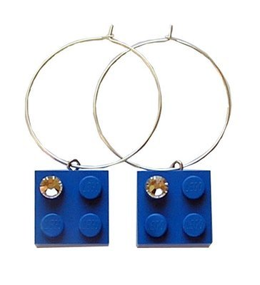 Dark Blue LEGO® brick 2x2 with a 'Diamond' color SWAROVSKI® crystal on a Silver plated hoop