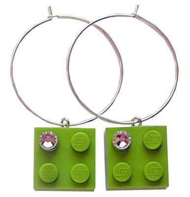 Light Green LEGO® brick 2x2 with a 'Diamond' color SWAROVSKI® crystal on a Silver plated hoop