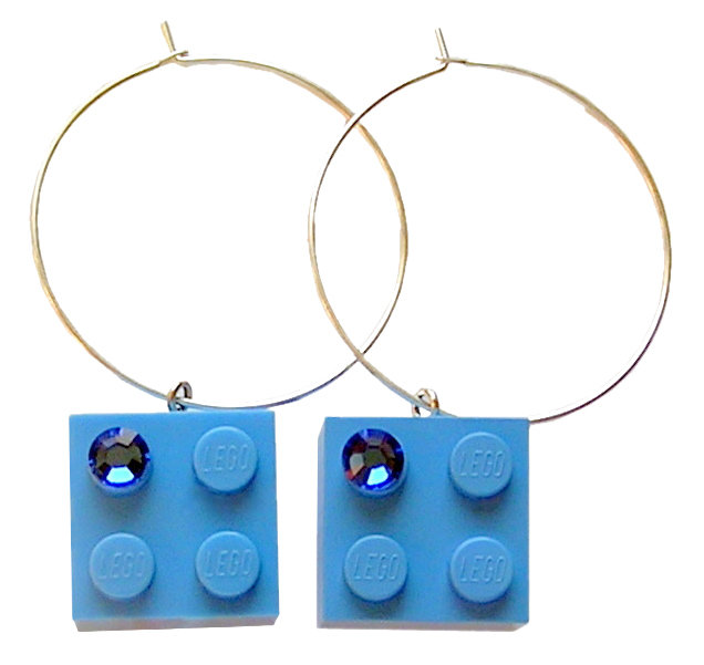 Light Blue LEGO® brick 2x2 with a Blue SWAROVSKI® crystal on a Silver plated hoop