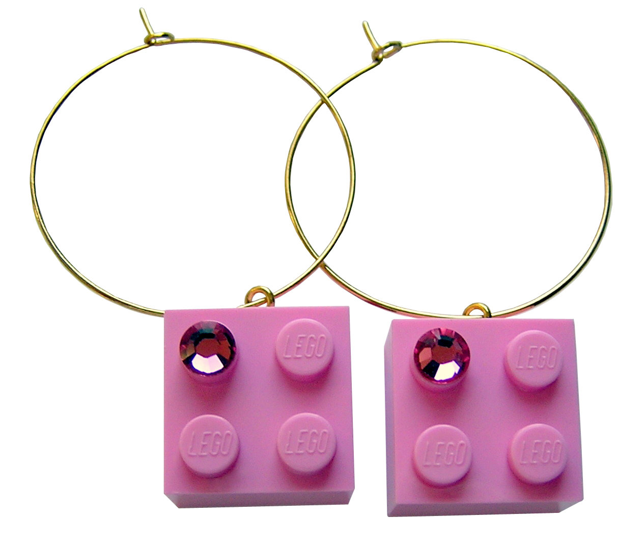 ​​Light Pink LEGO® brick 2x2 with a Pink SWAROVSKI® crystal on a Gold plated hoop