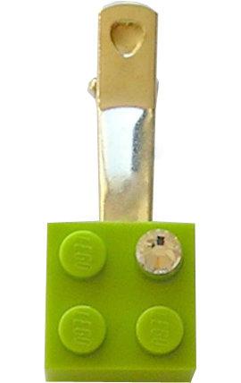 Light Green LEGO® brick 2x2 with a 'Diamond' color SWAROVSKI® crystal on a Silver plated hair clip (one piece)