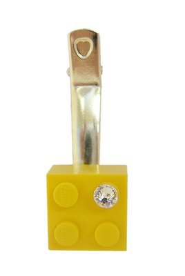 ​Yellow LEGO® brick 2x2 with a 'Diamond' color SWAROVSKI® crystal on a Silver plated hair clip (one piece)​