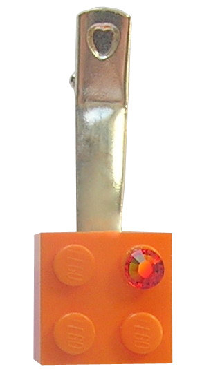 Orange LEGO® brick 2x2 with an Orange SWAROVSKI® crystal on a Silver plated hair clip (one piece)