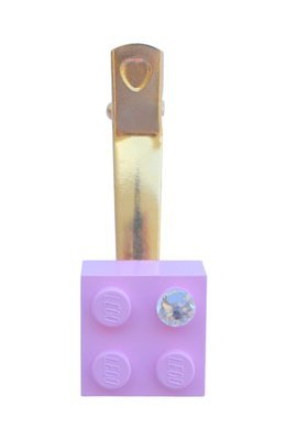 ​Light Pink LEGO® brick 2x2 with a 'Diamond' color SWAROVSKI® crystal on a Gold plated hair clip (one piece)