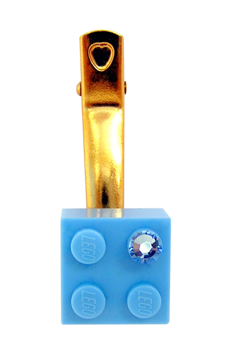 Light Blue LEGO® brick 2x2 with a Blue SWAROVSKI® crystal on a Gold plated hair clip (one piece)