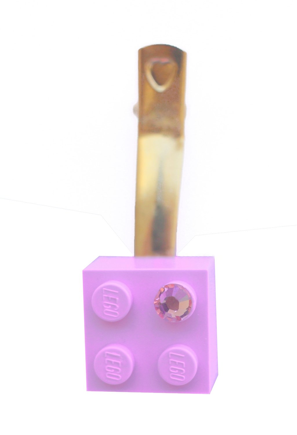 ​Light Pink LEGO® brick 2x2 with a Pink SWAROVSKI® crystal on a Gold plated hair clip (one piece)