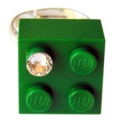 Dark Green LEGO® brick 2x2 with a 'Diamond' color SWAROVSKI® crystal on a Silver plated adjustable ring finding