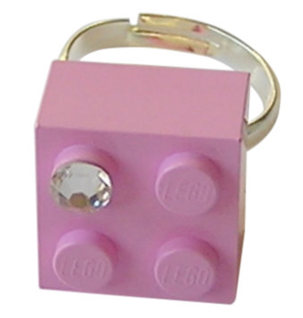 Light Pink LEGO® brick 2x2 with a 'Diamond' color SWAROVSKI® crystal on a Silver plated adjustable ring finding