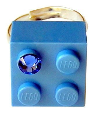 Light Blue LEGO® brick 2x2 with a Blue SWAROVSKI® crystal on a Silver plated adjustable ring finding