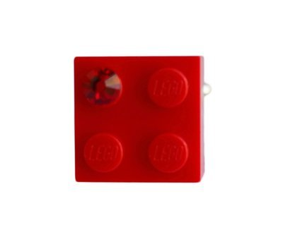 Red LEGO® brick 2x2 with a Red SWAROVSKI® crystal on a Silver plated adjustable ring finding