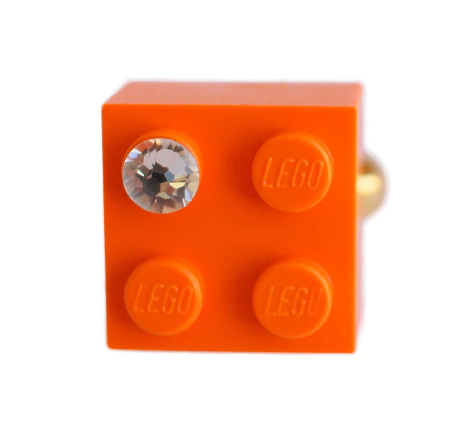 Orange LEGO® brick 2x2 with a 'Diamond' color SWAROVSKI® crystal on a Gold plated adjustable ring finding