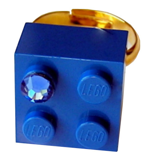 Dark Blue LEGO® brick 2x2 with a Blue SWAROVSKI® crystal on a Gold plated adjustable ring finding