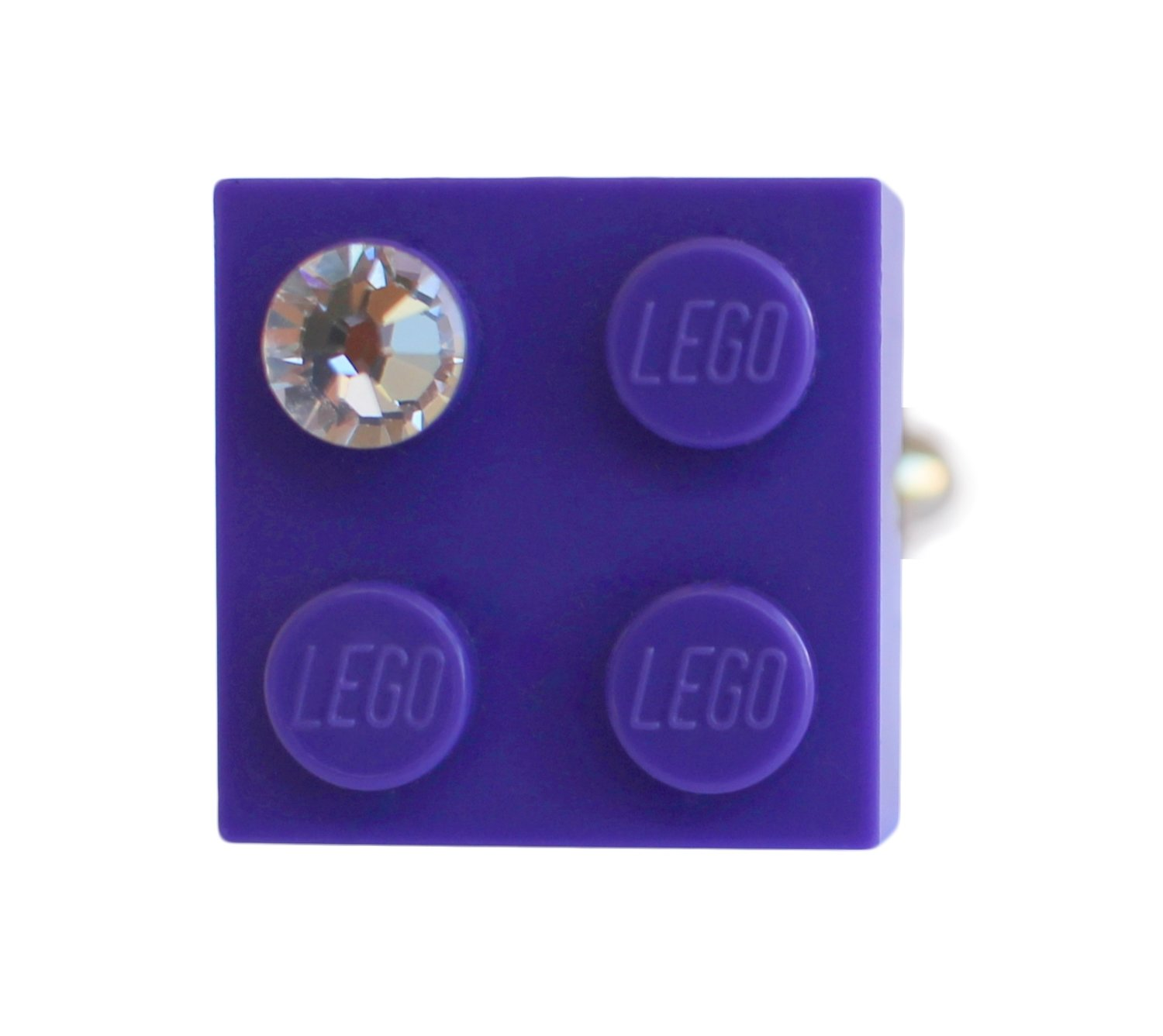 Purple LEGO® brick 2x2 with a 'Diamond' color SWAROVSKI® crystal on a Silver plated adjustable ring finding