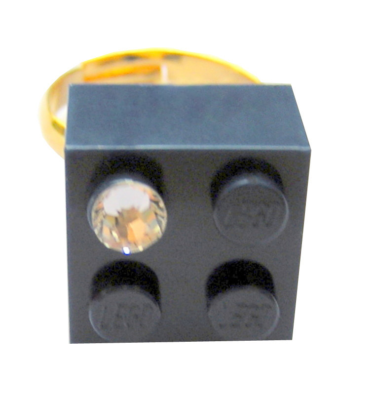 ​Navy Blue LEGO® brick 2x2 with a 'Diamond' color SWAROVSKI® crystal on a Gold plated adjustable ring finding