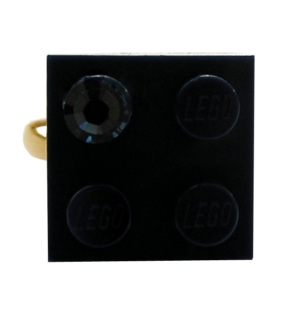Navy Blue LEGO® brick 2x2 with a Blue SWAROVSKI® crystal on a Gold plated adjustable ring finding