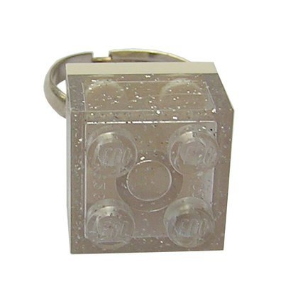 Glitter Transparent Clear LEGO® brick 2x2 on a Silver plated adjustable ring finding
