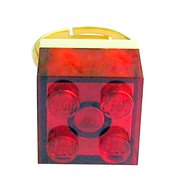 ​Transparent Red LEGO® brick 2x2 on a Gold plated adjustable ring finding