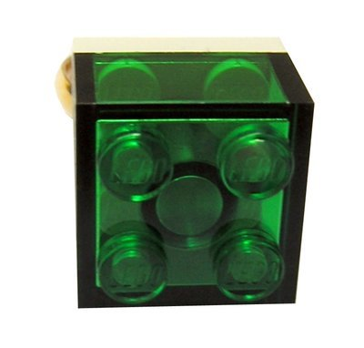 Transparent Green LEGO® brick 2x2 on a Gold plated adjustable ring finding
