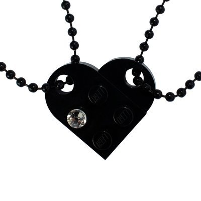 Black 2 piece customizable LEGO® heart made from 2 LEGO® plates with a 'Diamond' color SWAROVSKI® crystal on 2 Black ballchains