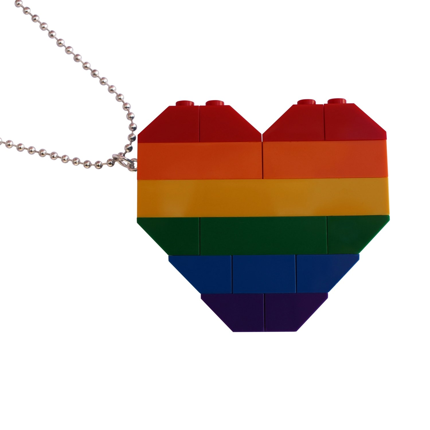 """Collectible heart pendant (Double thickness) Model 1 - made from LEGO® bricks on a 24"""" Silver plated ballchain - RAINBOW"""