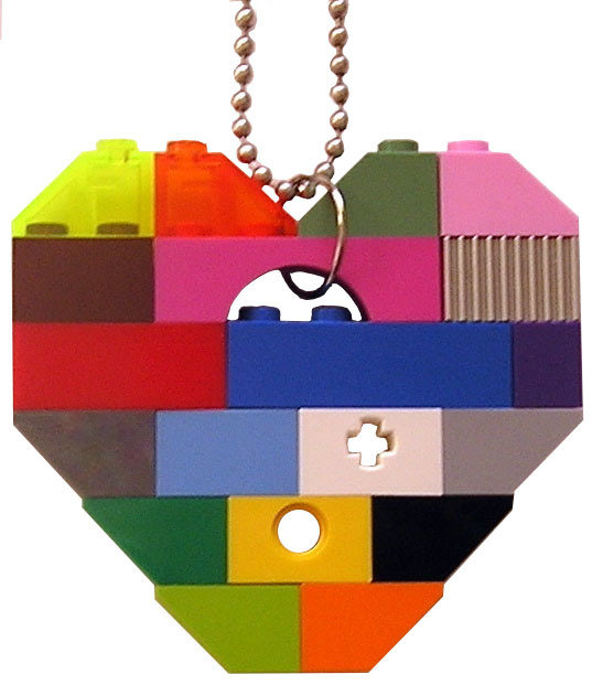 """Collectible heart pendant (Single thickness) Model 1 - made from LEGO® bricks on a 24"""" Silver plated ballchain - COLORFUL"""