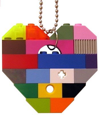 ​Collectible heart pendant (Single thickness) Model 1 - made from LEGO® bricks on a 24