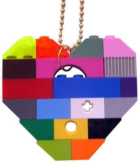 """Collectible heart pendant (Single thickness) Model 1 - made from LEGO® bricks on a 24"""" Gold plated ballchain - COLORFUL"""