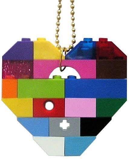 """Collectible heart pendant (Single thickness) Model 2 - made from LEGO® bricks on a 24"""" Gold plated ballchain - COLORFUL"""