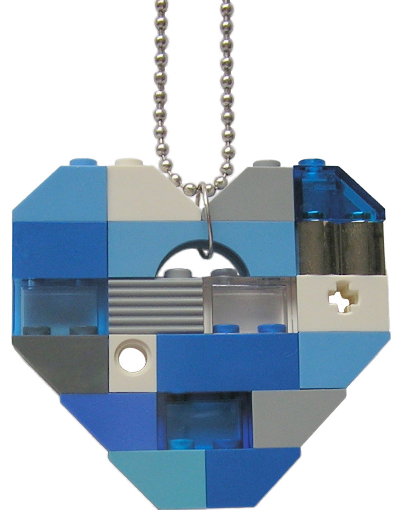 """Collectible heart pendant (Single thickness) Model 4 - made from LEGO® bricks on a 24"""" Silver plated ballchain - NAVY"""