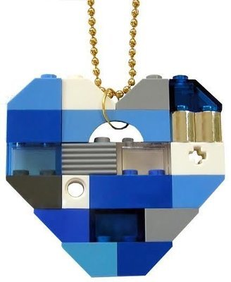 ​Collectible heart pendant (Single thickness) Model 4 - made from LEGO® bricks on a 24