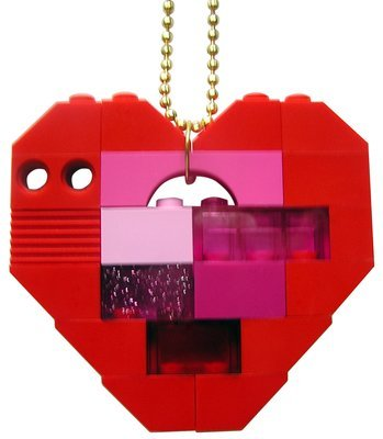 ​Collectible heart pendant (Single thickness) Model 5 - made from LEGO® bricks on a 24