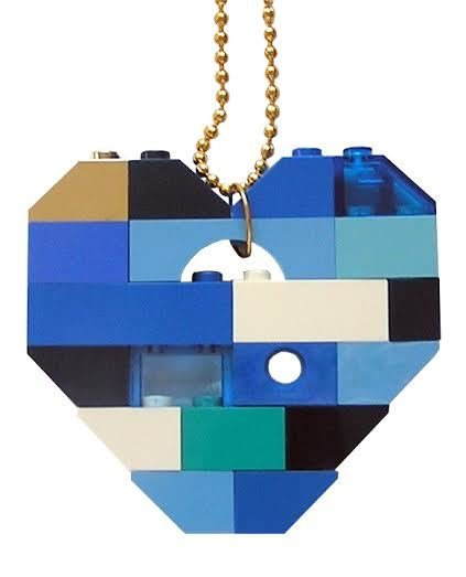 """Collectible heart pendant (Single thickness) Model 6 - made from LEGO® bricks on a 24"""" Gold plated ballchain - NAVY"""