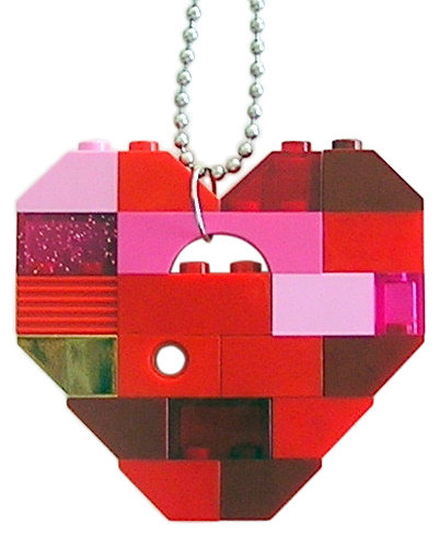 """Collectible heart pendant (Single thickness) Model 7 - made from LEGO® bricks on a 24"""" Silver plated ballchain"""