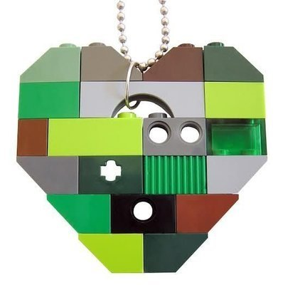 ​Collectible heart pendant (Single thickness) Model 8 - made from LEGO® bricks on a 24