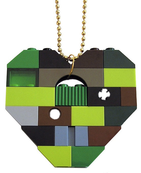 "Collectible heart pendant (Single thickness) Model 9 - made from LEGO® bricks on a 24"" Gold plated ballchain - CAMOUFLAGE"
