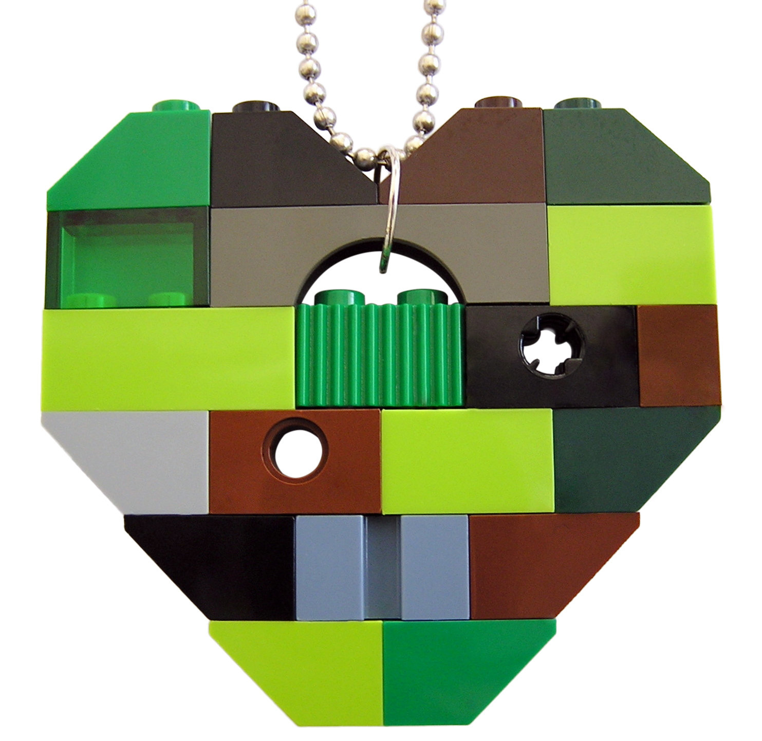 """Collectible heart pendant (Single thickness) Model 9 - made from LEGO® bricks on a 24"""" Silver plated ballchain - CAMOUFLAGE"""