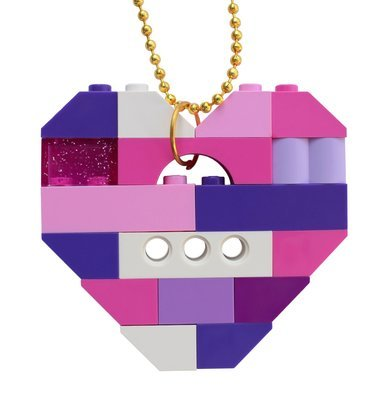 ​Collectible heart pendant (Single thickness) Model 12 - made from LEGO® bricks on a 24
