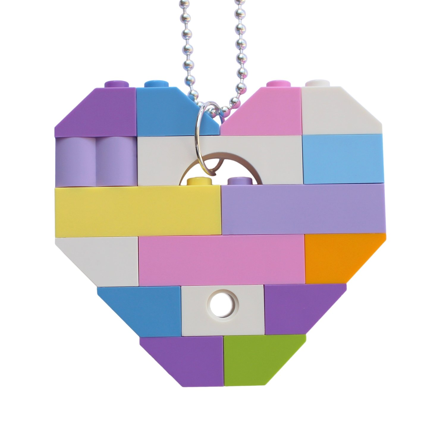 """Collectible heart pendant (Single thickness) Model 11 - made from LEGO® bricks on a 24"""" Silver plated ballchain - KAWAII PASTEL"""