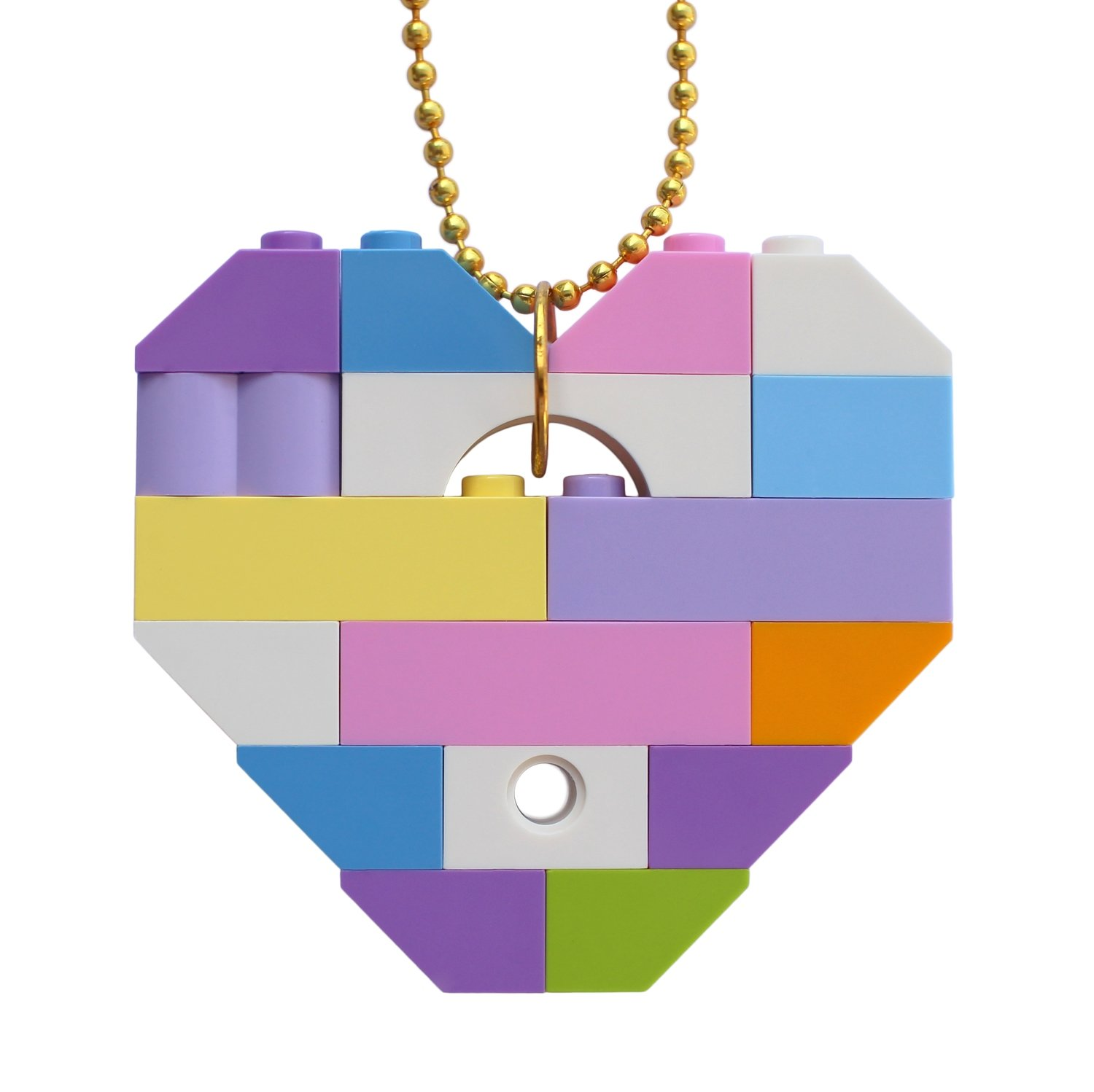 """Collectible heart pendant (Single thickness) Model 11 - made from LEGO® bricks on a 24"""" Gold plated ballchain - KAWAII PASTEL"""