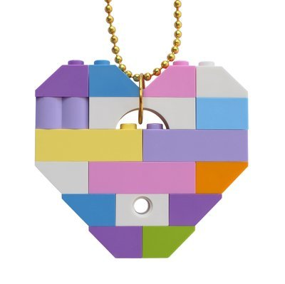 ​Collectible heart pendant (Single thickness) Model 11 - made from LEGO® bricks on a 24