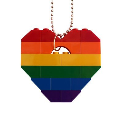 ​Collectible heart pendant (Single thickness) Model 13 - made from LEGO® bricks on a 24