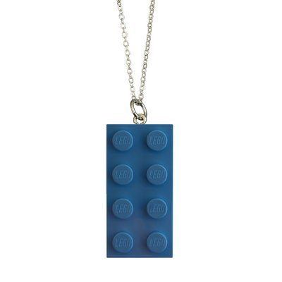 Light Blue LEGO® brick 2x4 on a Silver plated trace chain (18